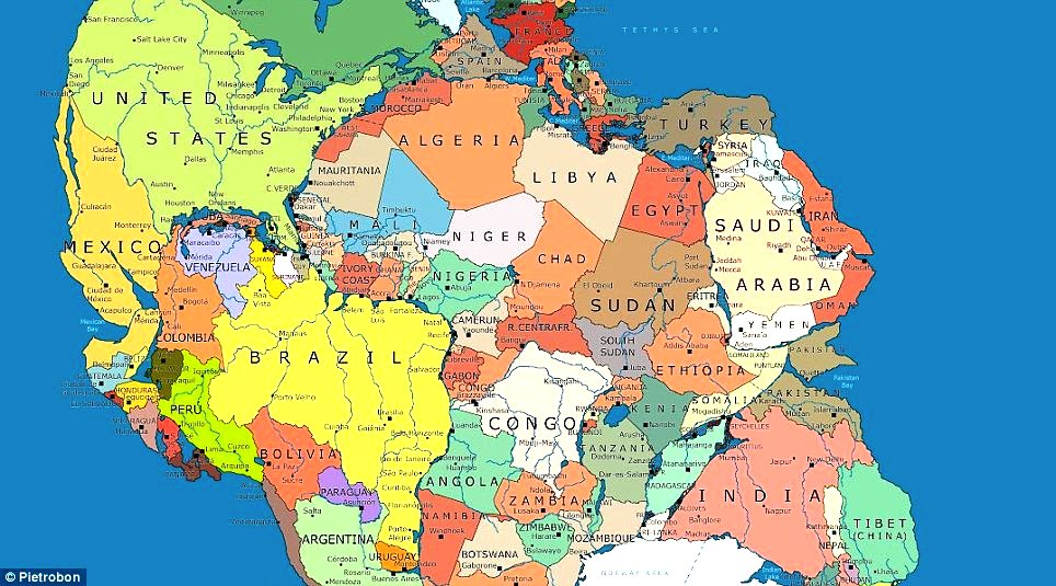 Morocco on the move when you could walk from ny to morocco how historical view a new map of pangea the super continent from 300 million years gumiabroncs Choice Image