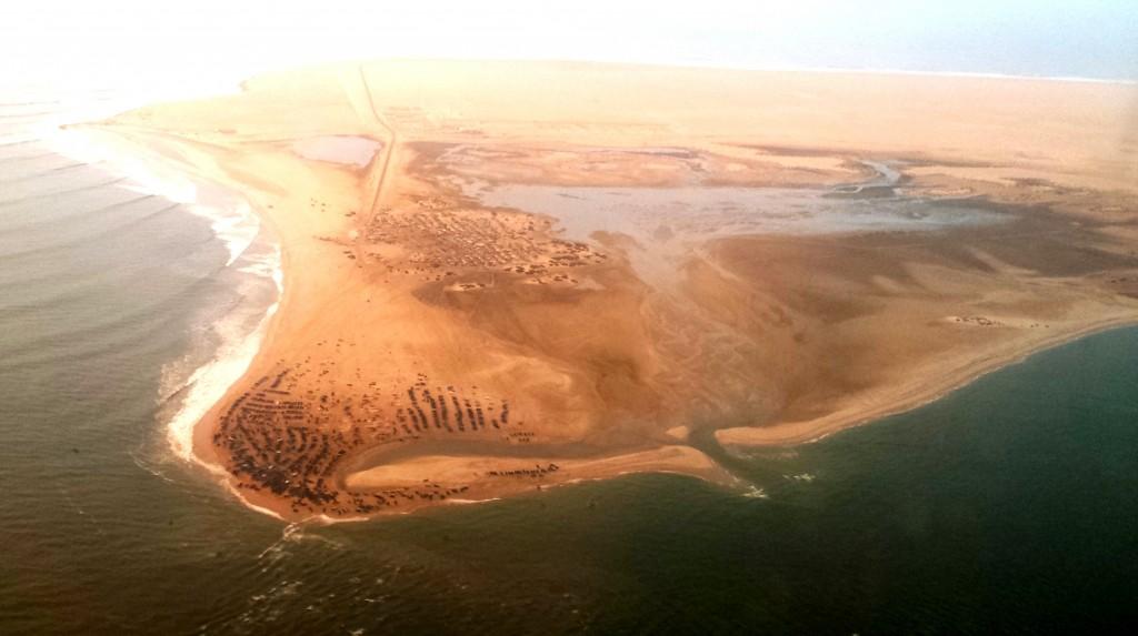 Flying in to Dakhla, Morocco, where the vast Sahara desert meets the sea, on Atlantic Coast of North Africa.  Photo: Jordana Merran
