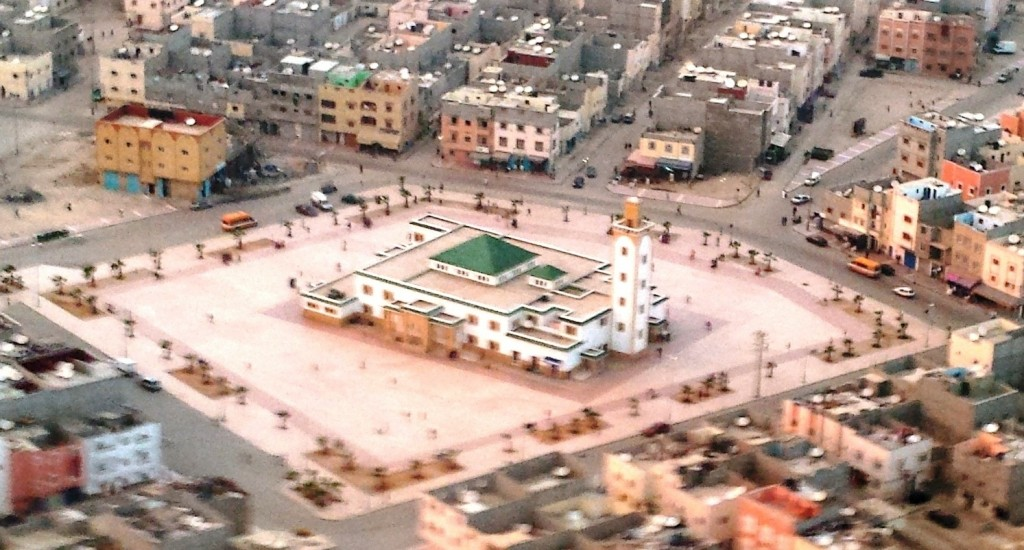 A town square in Dakhla, Morocco, seen from the air.  Photo: Jordana Merran