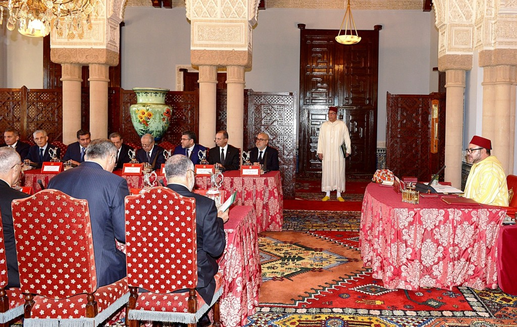 Morocco's Council of Ministers, chaired by King Mohammed VI, advanced broad reform of Morocco's military justice system, including ending the use of military tribunals for civilian trials, at a meeting in Rabat March 14, 2014.  Photo: MAP