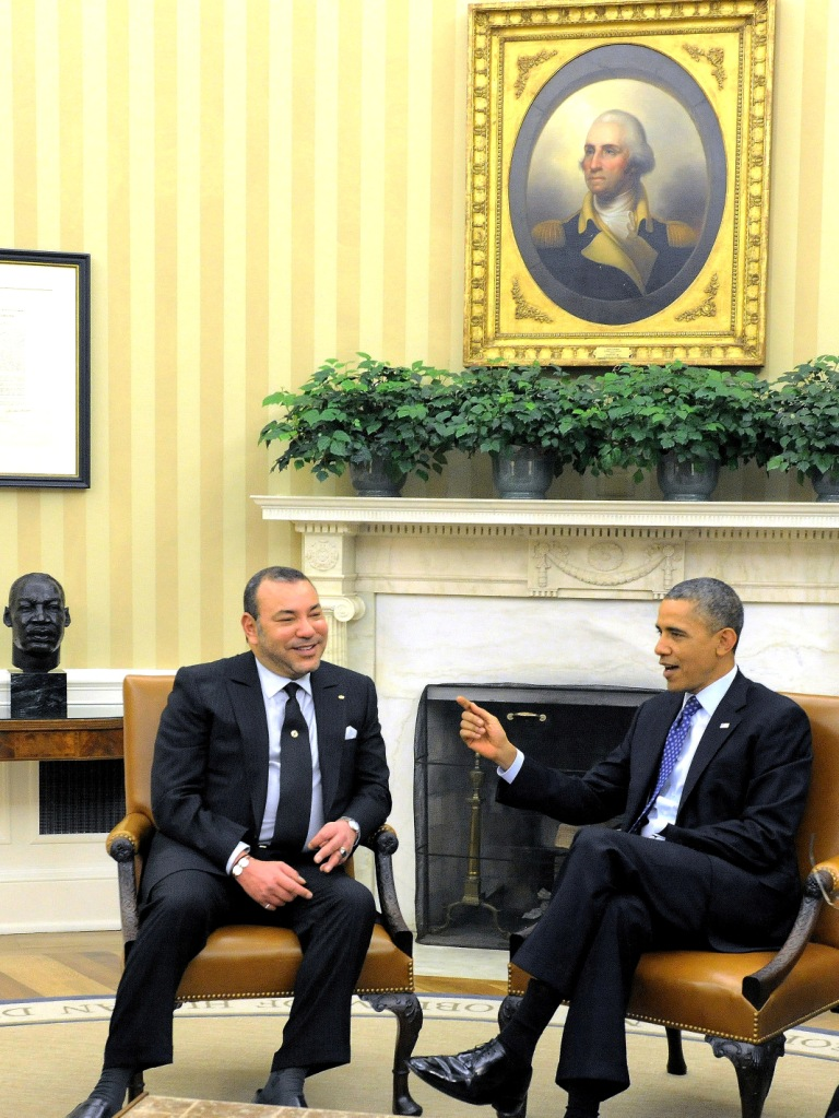 Morocco's King Mohammed VI meets with President Barack Obama at the White House on November 22, 2013.  Photo: MAP