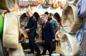 British Ambassador Clive Alderton (L), shown on a visit to the Rabat medina, helped spearhead the 'Forsa Mentoring' project for young Moroccans. Photo: AFP/Fadel Senna
