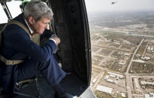 John Kerry flew over Baghdad in a helicopter before meeting Prime Minister Haidar al-Abadi. Photo: AP