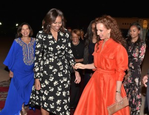 First Lady of the United States Michelle Obama arrives in Morocco, greeted by Princess Lalla Salma.