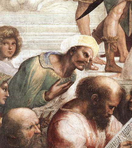 "Averroes, as portrayed in Raphael's ""The School of Athens."" Photo: Wikipedia Commons."