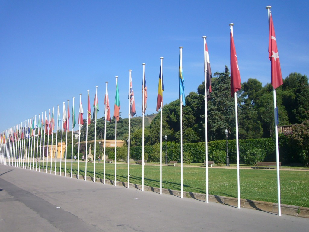 Jordiferrer - Own work Union for the Mediterranean. Flags of country members located at the entrance of the Pedralbes palace, Barcelona.