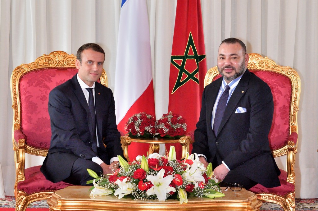 Morocco's King Mohammed VI with French President Emmanuel Macron.