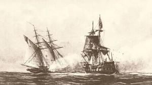 USS Enterprise fighting the Tripolitan polacca Tripoli by William Bainbridge Hoff, 1878. Photo: Wikipedia Commons