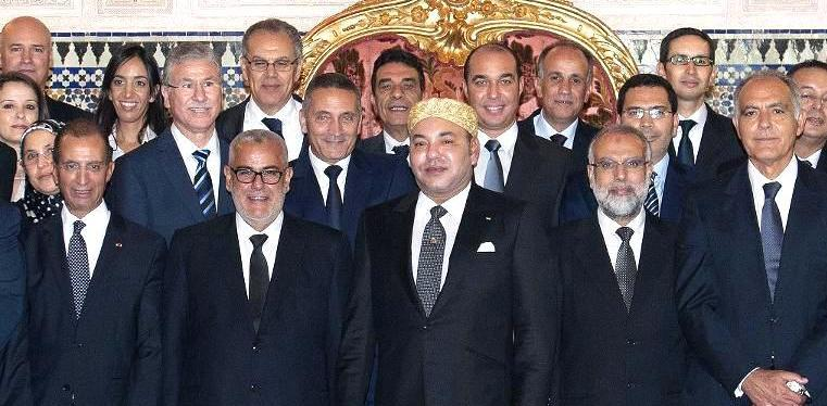 Members of Morocco's newly appointed government after swearing in ceremony, with King Mohammed VI at Royal Palace in Rabat. October 10, 2013 Photo: MAP