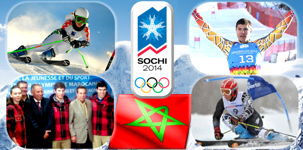 Morocco is one of four African nations sending Athletes to compete in the Winter Olympics in Sochi, along with Algeria, Togo, and Zimbabwe.  Pictured above are Kenza Tazi, Adam Lamhamedi, and Sami Lamhamedi competing for Morocco.