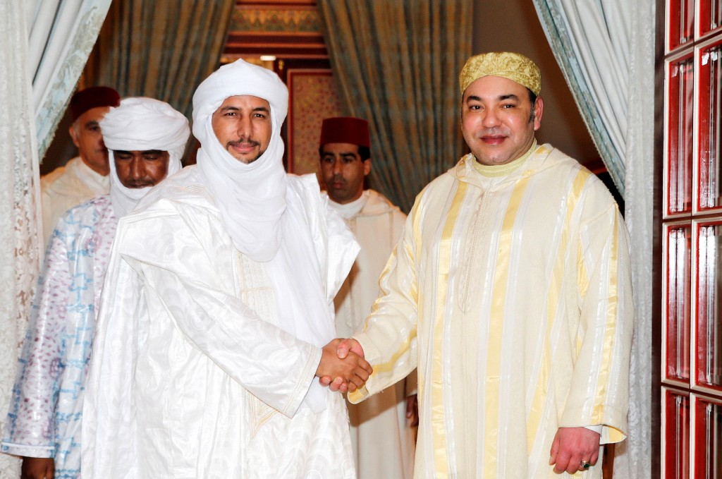 King Mohammed VI of Morocco receives Bilal Ag Cherif, Secretary General of the National Movement for the Liberation of Azawad (MNLA), in January as part of his ongoing efforts to promote peace in Mali. Photo: MAP
