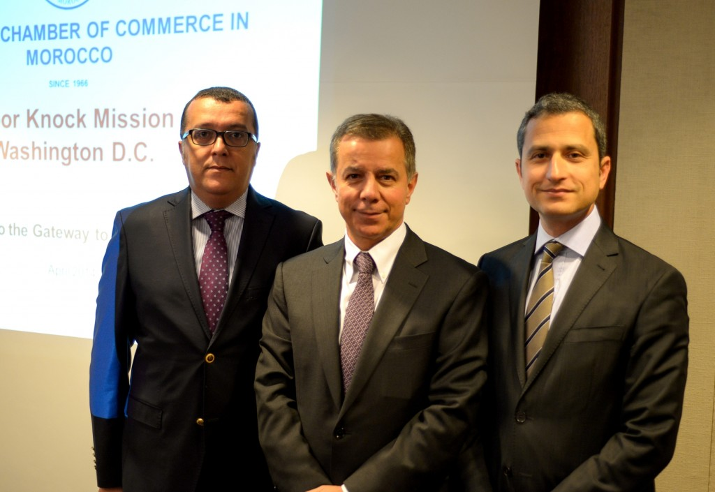 Among the participants in AmCham Morocco's Door Knock mission to Washington: (left to right) Mohamed Amine El Hajhouj, General Manager, Zenata; Walter Siouffi, AmCham - Chairman of the Board, CEO Citibank Maghreb; Mohamed Arabi Naciri, Business Development, Zenata.