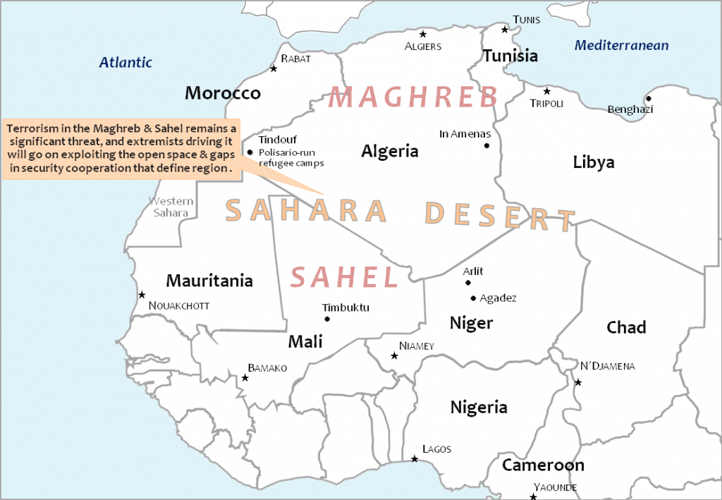 Terrorism in the Maghreb and Sahel. Map: MOTM