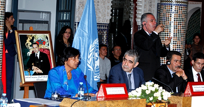 UN High Commissioner for Human Rights Navi Pillay at Morocco's National Council for Human Rights (CNDH) with CNDH President Driss El Yazami.  Photo: MAP