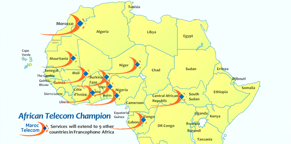 The finalized deal, valued at $650 million, gives Etisalat a much stronger foothold on the continent and a proven platform, in Maroc Telecom, for expanding its operations to ten countries to compete with regional rivals for the growing telecoms and ITC business in sub-Saharan Africa.  Map: MOTM