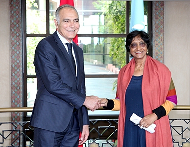Ms. Pillay also met with Morocco's Minister of Foreign Affairs and Cooperation, Salaheddine Mezouar, in Rabat. Photo: MAP