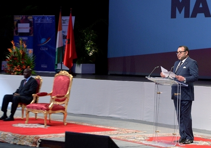 King Mohammed VI addresses Moroccan-Ivorian Economic Forum Feb. 24, 2014. MAP