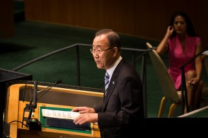 UN Secretary General Ban Ki-moon addresses the 67th General Assembly of the United Nations. Photo: UNIC/John Gillespie