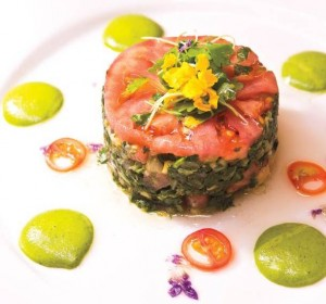 Argana's salad of braised Swiss chard with lemon juice and olives. Photo: Christopher DeVargas