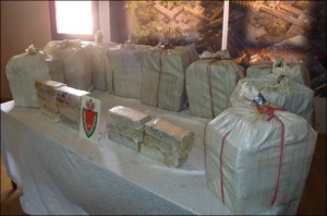Moroccan police show off a record 226 kilogram cocaine seizure. Photo: Magharebia/Imrane Binoual