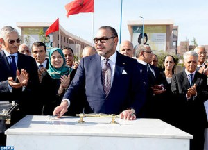 King Mohammed VI laid on Wednesday the foundation stone of the Grand Casablanca center for research, development and innovation in engineering sciences. Photo: MAP