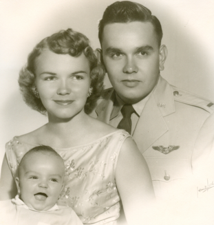 Bob Brown with his wife Gail and their 4-month-old son, Mark in 1956. Photo courtesy: Bob Brown.