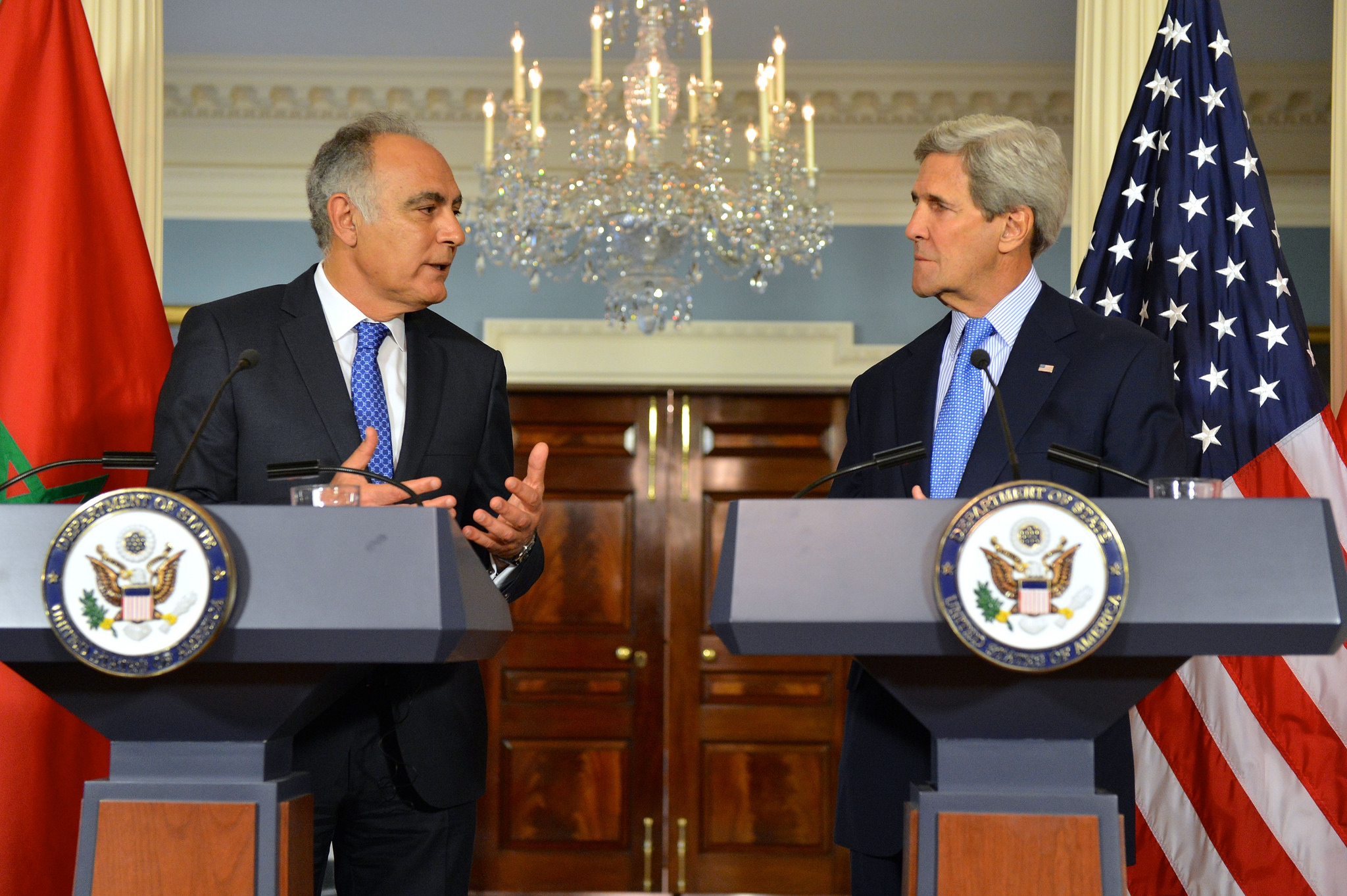 Morocco's Minister of Foreign Affairs Salaheddine Mezouar and US Secretary of State John Kerry at the State Department April 9, 2015. Photo credit: State Department.