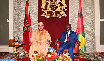 Morocco's King Mohammed VI meets with President of the Republic of Guinea-Bissau, José Mario Vaz. Photo: MAP