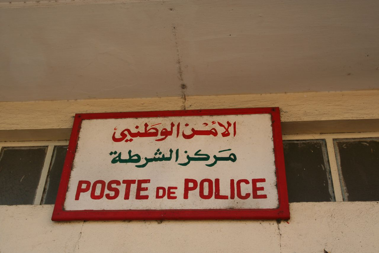 A police station sign in Casablanca, Morocco. Photo: Holly Hayes on Flickr.